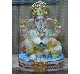 Lord Ganesha White Marble Statue