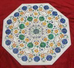 Marble Table Top with Inlay Art Work