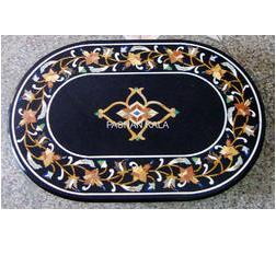 Black Marble Inlay Table Tops