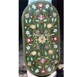 Green Marble Inlay Table Tops
