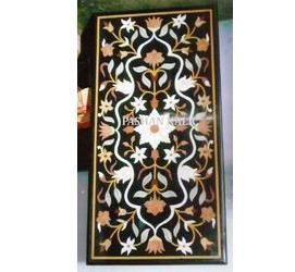 Rectangular Black Marble Inlay Table Tops