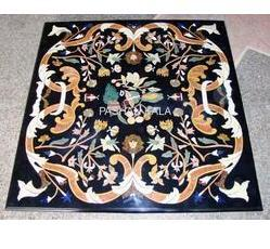 Square Shape Black Marble Inlay Table Tops