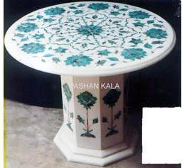 Round Marble Inlay Table