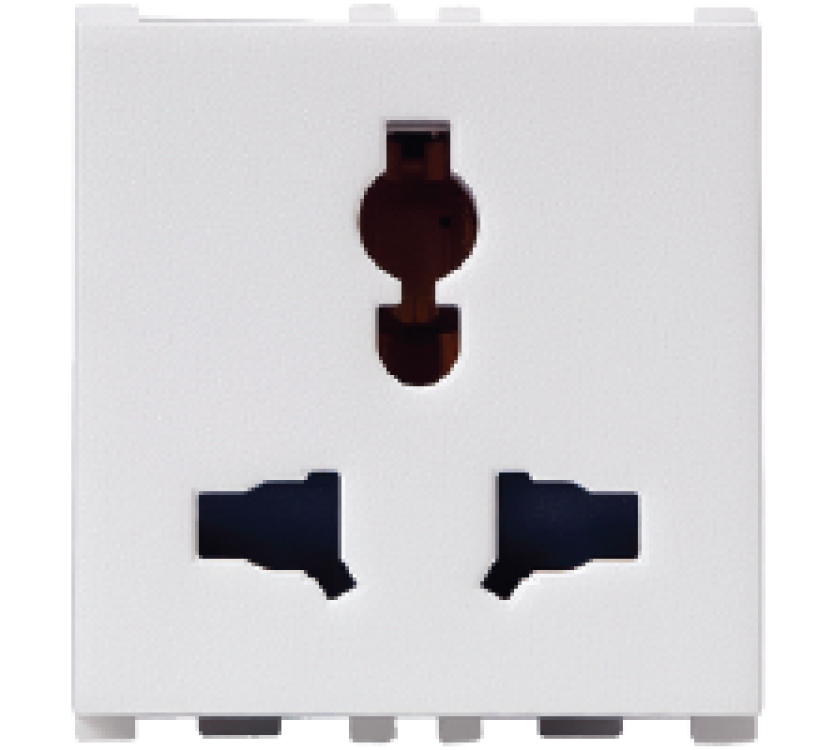 2/3 Pin, 2 Module Combi Socket
