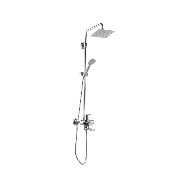 Single lever wall mixer (3-in-1) with overhead shower and telephonic hand shower