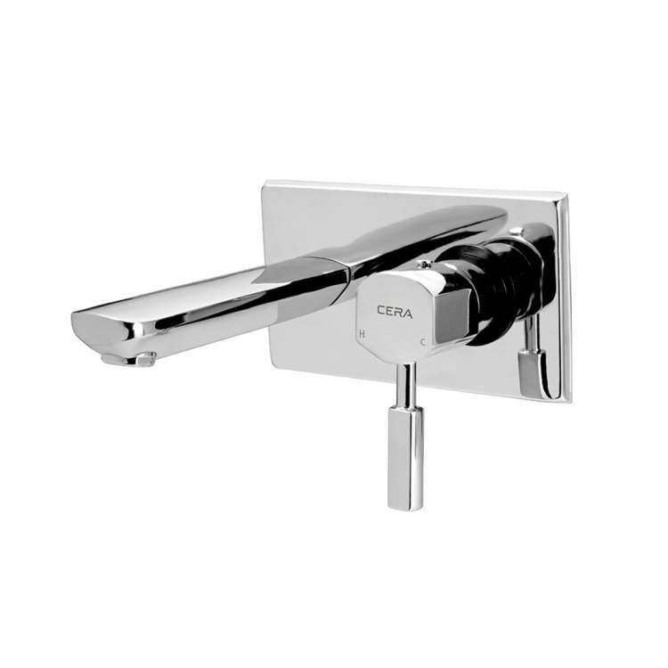 Wall mounted single lever basin mixer