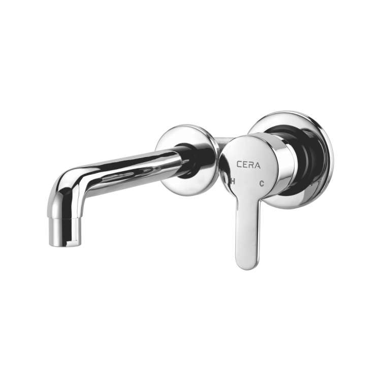 Wall mounted single lever basin mixer