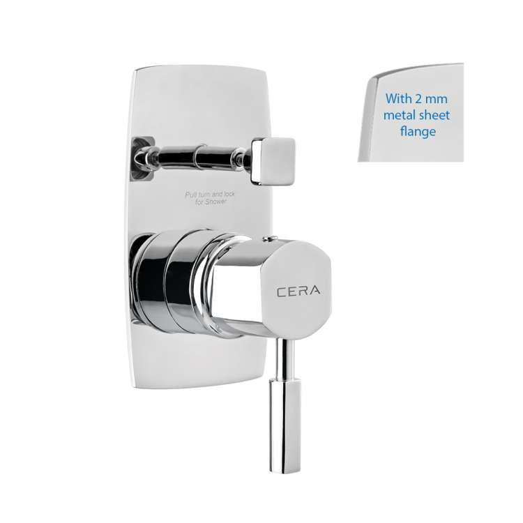 5-way single lever concealed diverter with sheet metal wall flange
