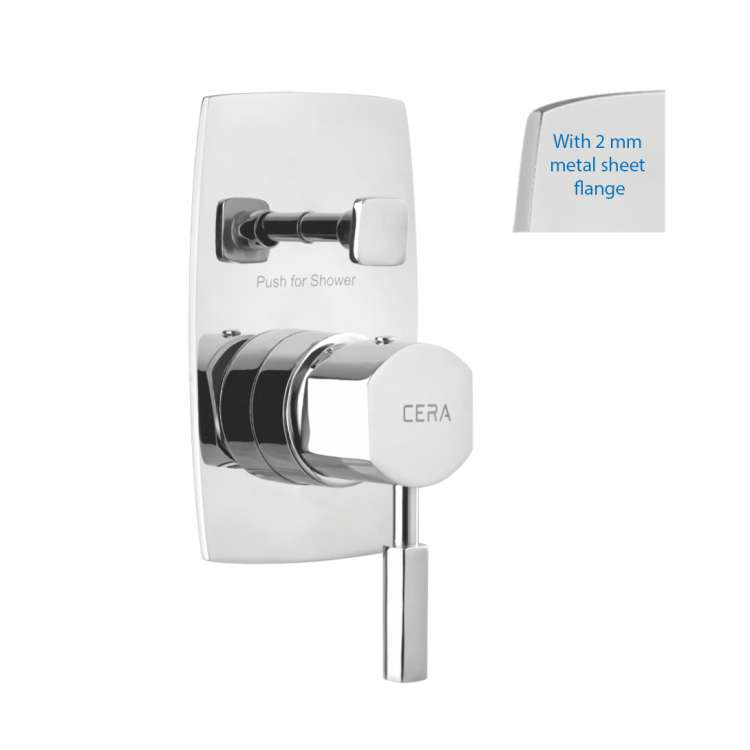High flow single lever concealed diverter with sheet metal wall flange