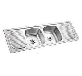 Double Bowl With Drain Board Sinks